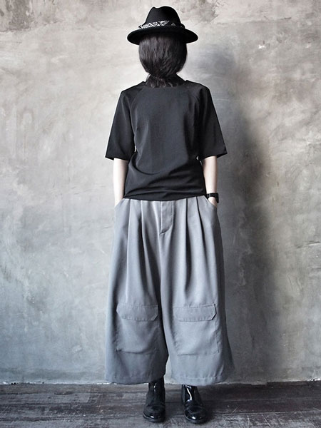 WIDE LEG LOOSE GREY PANTS & TUBE DRESS