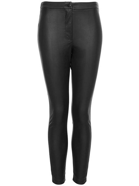 TOPSHOP - PETITE LEATHER LOOK HIGHWAISTED TROUSERS