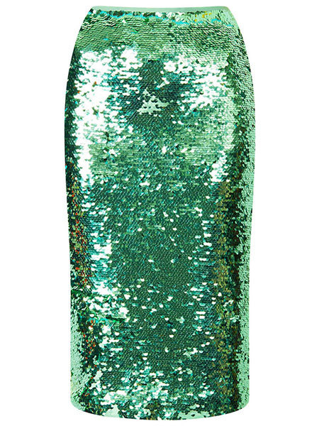TOPSHOP - MINT SEQUIN PENCIL SKIRT
