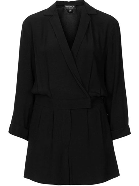 TOPSHOP - BLACK WRAP FRONT PLAYSUIT