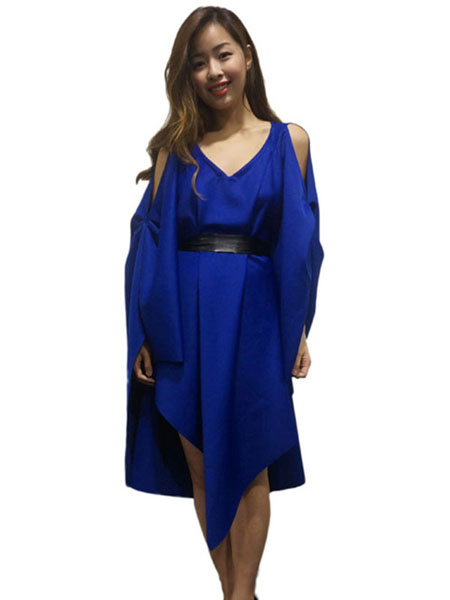 JANELLE YAP — SHOULDER HOLE ASYMMETRIC DRAPES DRESS IN BLUE
