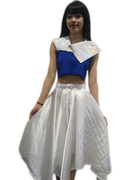 JANELLE YAP — HANDKERCHIEF SATIN WHITE SKIRT WITH FLASH SCALES BLUE CROPPED TOP