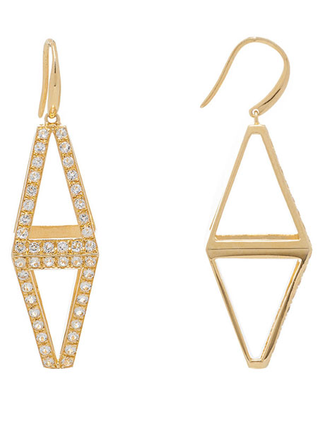 DOUBLE PYRAMID EARRINGS (YELLOW GOLD)