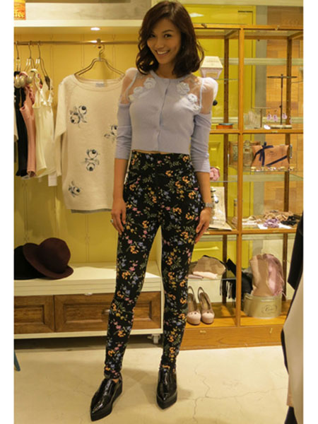 SNIDEL - FLORAL PRINTED TROUSERS