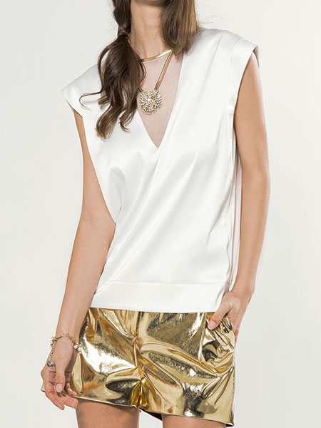 MESH V-NECK BLOUSE IN WHITE