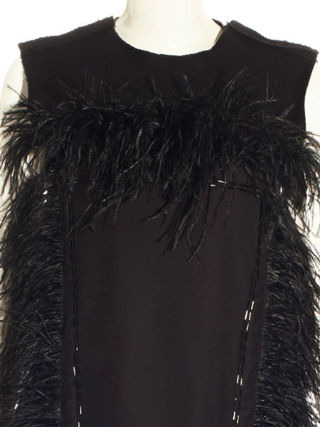 BLACK DRESS WITH FEATHERS AND EMBELLISHED WITH CHUNKY BEADS