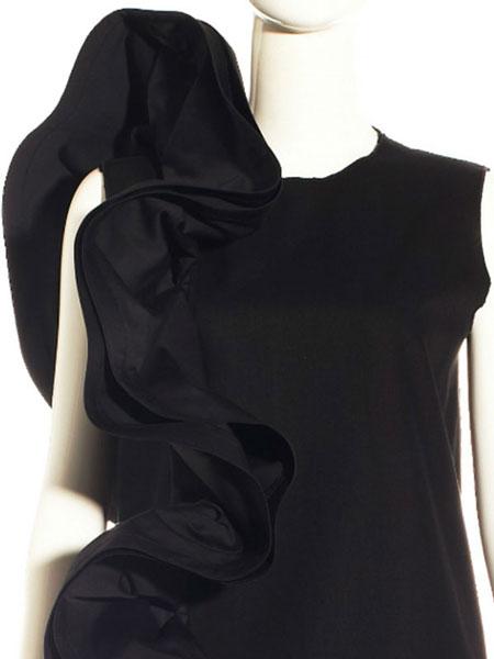 BLACK RUFFLES COCKTAIL DRESS