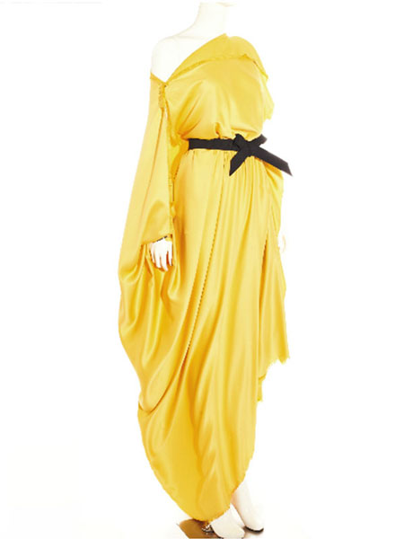 YELLOW ASYMMETRIC DRAPED SATIN GOWN WITH ELASTIC BOW